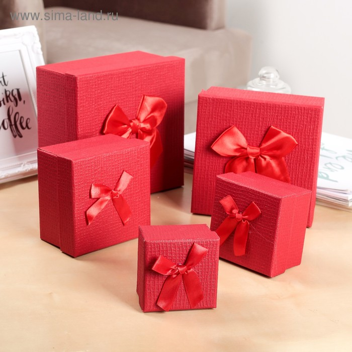 "Набор коробок 5в1 ""Классика"", 16,5 х 16,5 х 9 - 7,5 х 7,5 х 5 см"