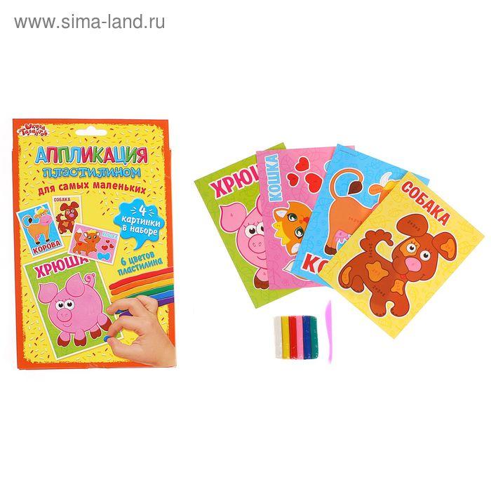 """Аппликация пластилином """"Домашние животные"""" для самых маленьких, 4 картинки + 6 цветов пластилина по 10 г"""