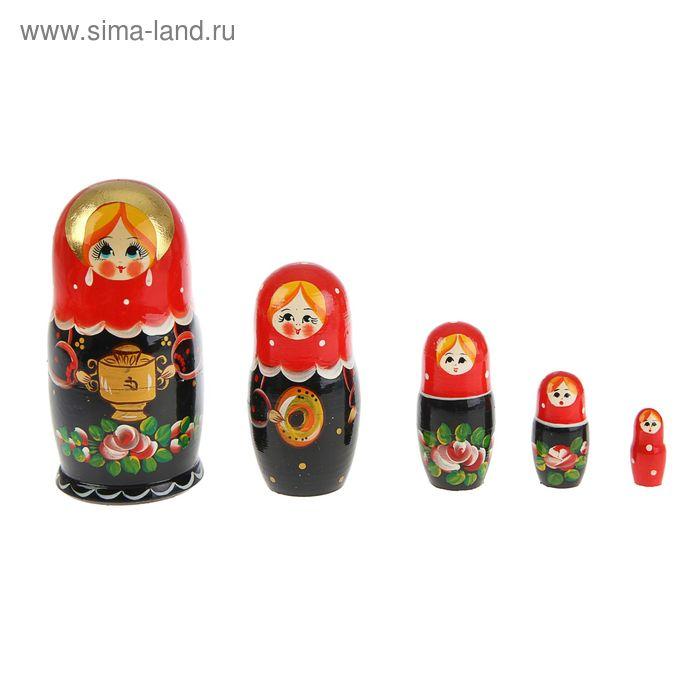 """Матрешка """"Марфуша"""" , черное платье с самоваром красный платок , 5 кукол, художественная"""