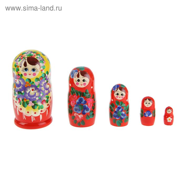 """Матрешка """"Мария"""", красное платье,цветной платок 5 кукол, художественная"""