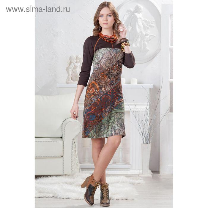 Платье женское 4378, размер 42, рост 164 см, цвет коричневый/зеленый/оранжевый