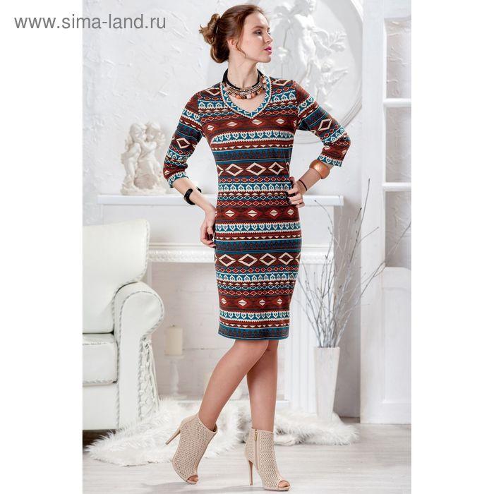 Платье женское 4428, размер 48, рост 164 см, цвет коричневый микс/ромб