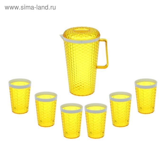 """Набор питьевой """"Мозаика"""", 7 предметов: кувшин 2,5 л и 6 стаканов, цвет желтый"""