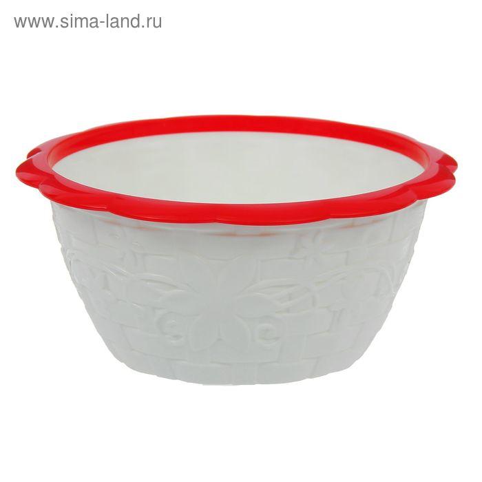 """Салатник с ободком 1,2 л """"Плетёнка"""", цвет бело-красный"""