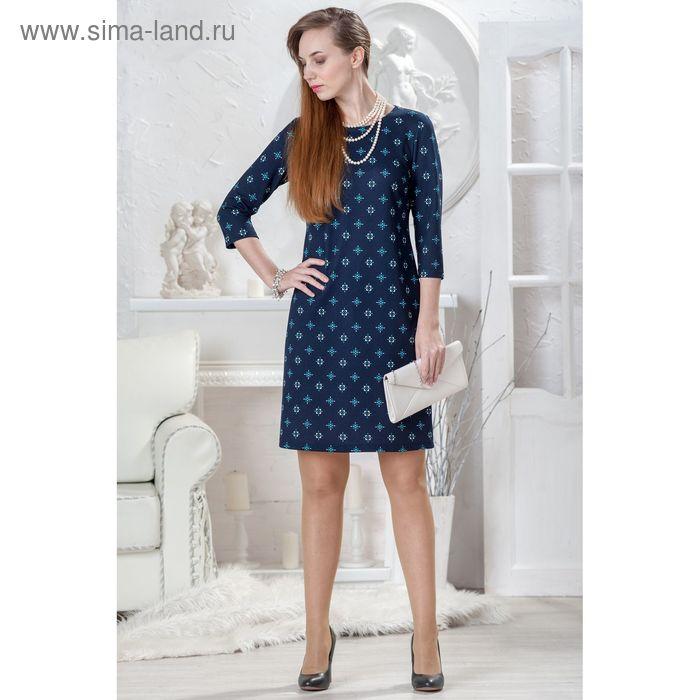 Платье женское 4432 С+, размер 52, рост 164 см, цвет темно-синий/принт