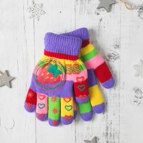 """Перчатки детские двуслойные Collorista """"Клубничка"""", размер 18, цвет фиолетовый"""