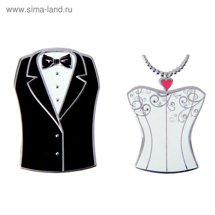 """Набор свадебных наклеек """"Свадебный наряд, фрак + платье"""", 2 шт"""