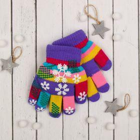 """Перчатки детские двуслойные Collorista """"Снежинки"""", размер 18, цвет фиолетовый"""