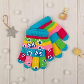 """Перчатки детские двуслойные Collorista """"Бабочка"""", размер 18, цвет голубой"""