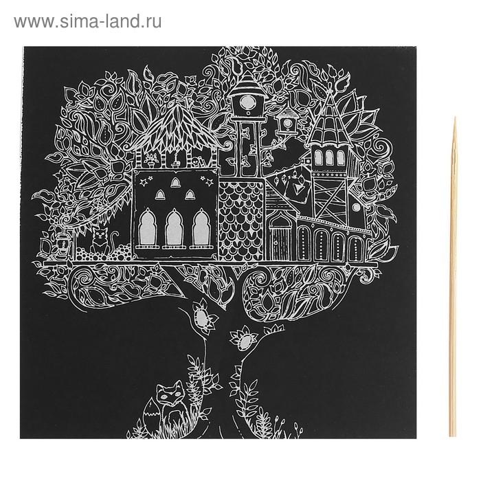 """Гравюра """"Загадочный сад №8"""" цветное основание, оборот раскраска + штихель"""