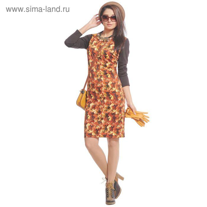 Платье женское 4052 С+, размер 52, рост 164 см, цвет коричневый/оранжевый