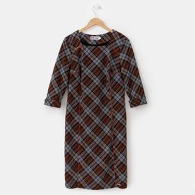 Платье женское 13-69, цвет серый/черный/оранжевый, р. 56, рост 164