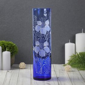 """Ваза """"Цилиндр"""", синяя, цветы"""