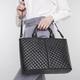 Сумка женская на молнии, 3 отдела, наружный карман, длинный ремень, стёжка, чёрная