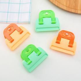 Зажим-прищепка для пакетов (набор 4 шт), цвет МИКС