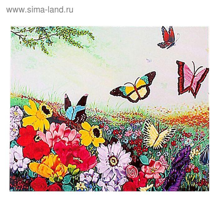 """Набор для вышивания лентами """"Цветочное поле"""" размер основы 65*50 см"""