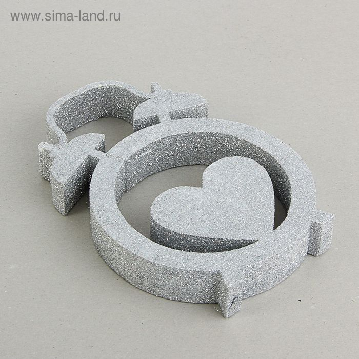 """Декор из пенопласта """"Время любить!"""", серебряный блеск, 20 х 3 см"""