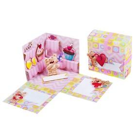 "Коробочка с пожеланиями своими руками ""Мишки"", 3 листа с элементами + декор"