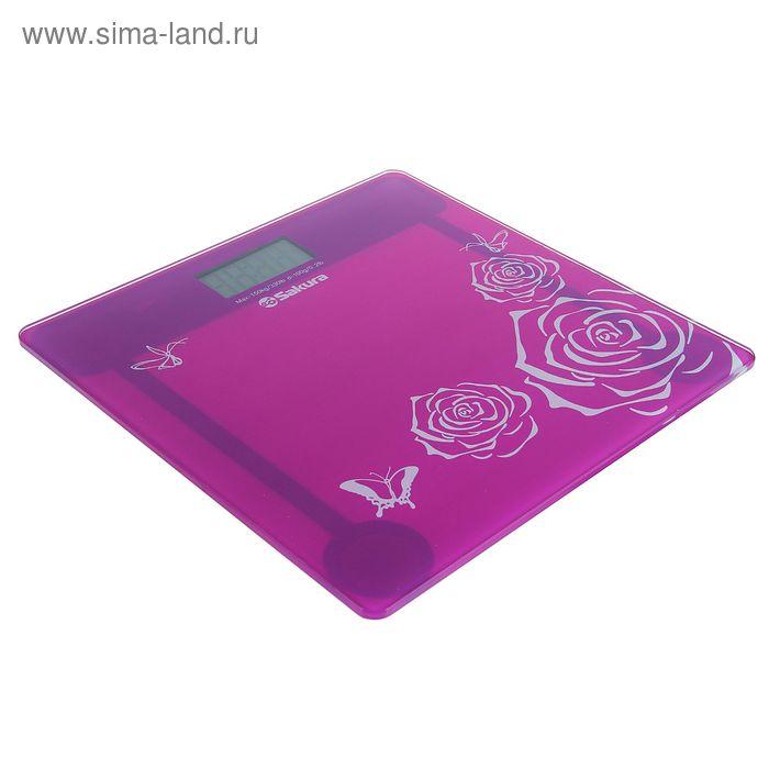 Весы напольные Sakura SA-5065 Ultraslim, электронные, до 150 кг, розовые