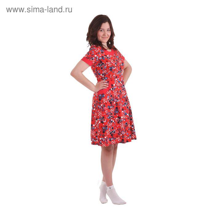 Платье женское Б176 абстракция, рисунок микс, размер 50 (XL)