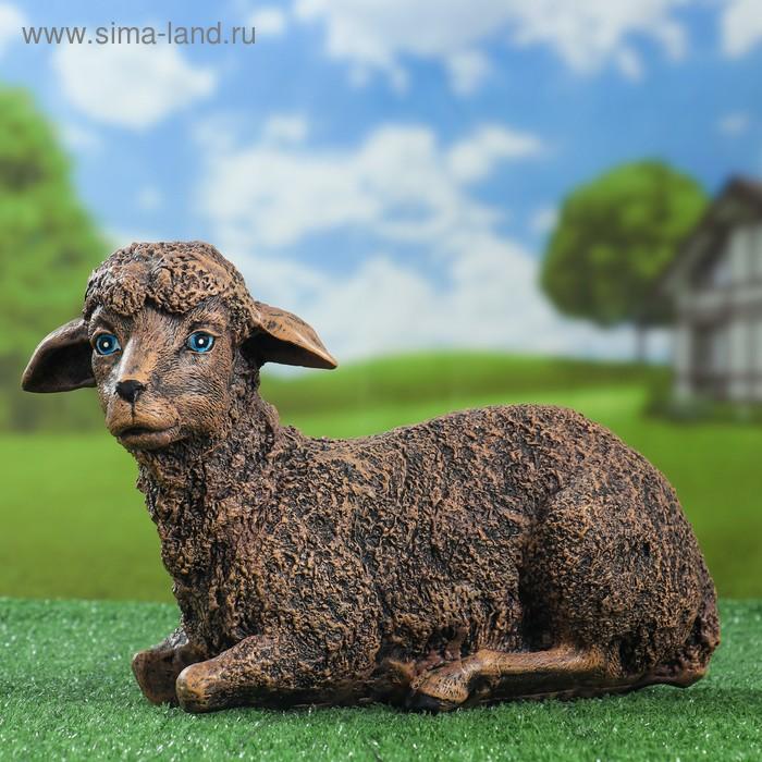 """Садовая фигура """"Лежащая серая овечка"""""""