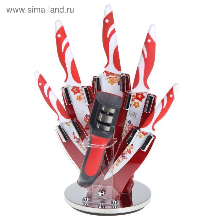 """Набор 6 предметов: 5 ножей 20/20/20/13/9,5 см, ножеточка на подставке """"Солнечные узоры"""""""