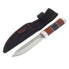 """Нож нескладной """"Командор"""", 20,7 см, на лезвии зазубрины, в чехле, на рукояти чёрная полоска"""