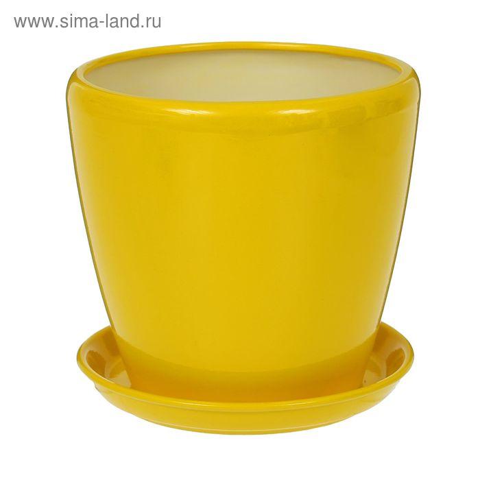 """Кашпо """"Грация"""" глянец, жёлтое, 4,5 л"""