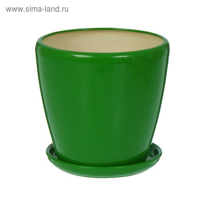 """Кашпо """"Грация"""" глянец, зелёное, 4,5 л"""