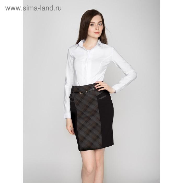 Юбка женская, размер 50, рост 170, цвет чёрный/серый/синий (арт. 445 С+)