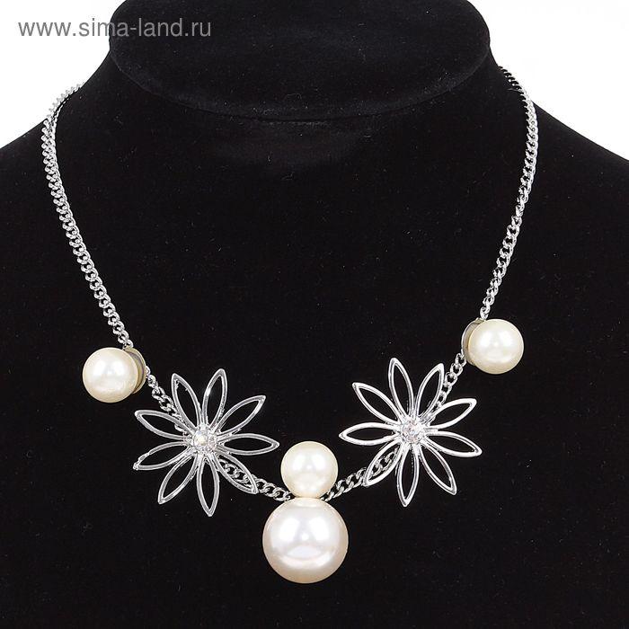 """Колье """"Цветы жемчужные"""", цвет белый в серебре"""