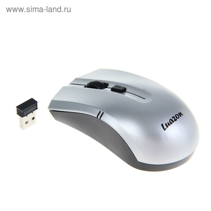 Мышь Luazon L-059, оптическая, беспроводная,1200/2400/3200 dpi, до 10 м, 2.4 ГГц, USB, серая