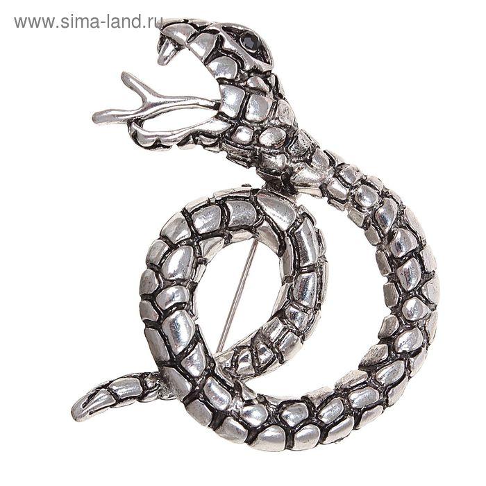 """Брошь """"Змея с языком"""" в чернёном серебре"""