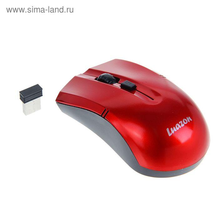 Мышь Luazon L-060, оптическая, беспроводная, 1200/2400/3200 dpi, до 10м, 2.4ГГц, USB красная