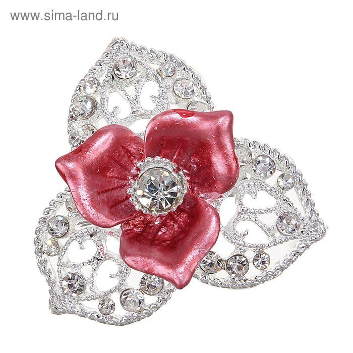 """Брошь """"Цветок трёхлистный"""" цвет красный в серебре"""