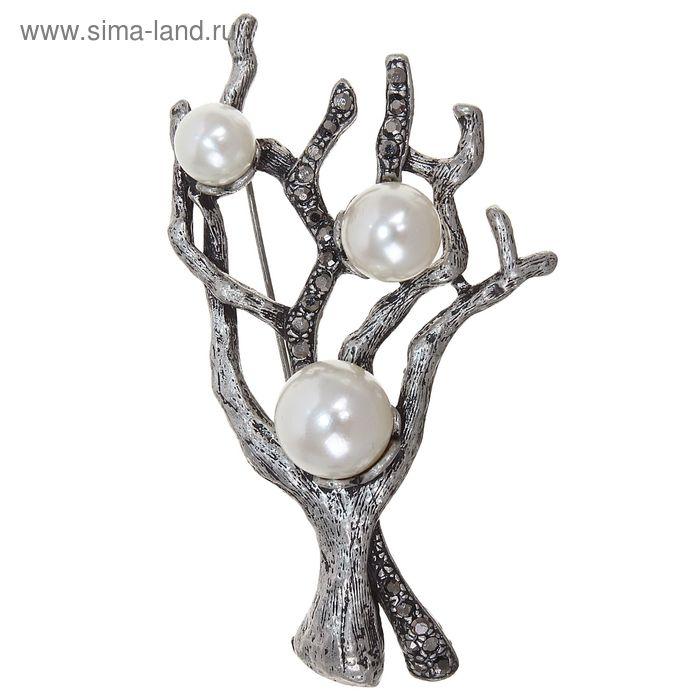 """Брошь """"Дерево"""" жемчужное, цвет белый в серебре"""