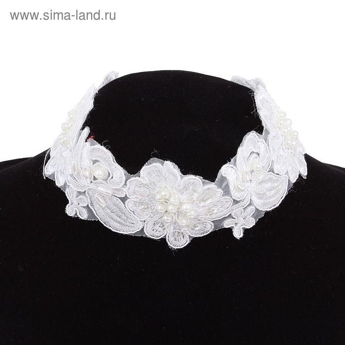 """Чокер """"Цветочки Wedding"""" цвет белый"""