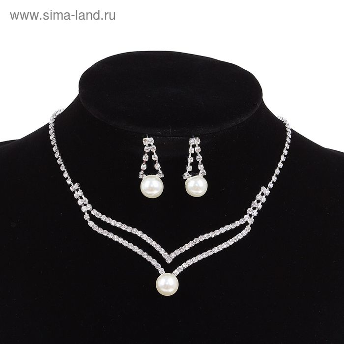 Набор 2 предмета; серьги, колье Wedding шарики, цвет белый в серебре