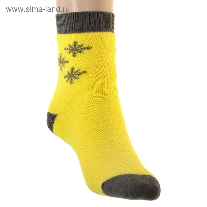 Носки детские плюшевые ПФС102-2548, цвет желтый, р-р 20-22