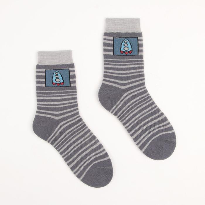Носки детские плюшевые ПФС102-2536, цвет серый, р-р 18-20