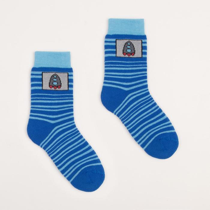 Носки детские плюшевые, размер 18-20, цвет василек ПФС102-2536