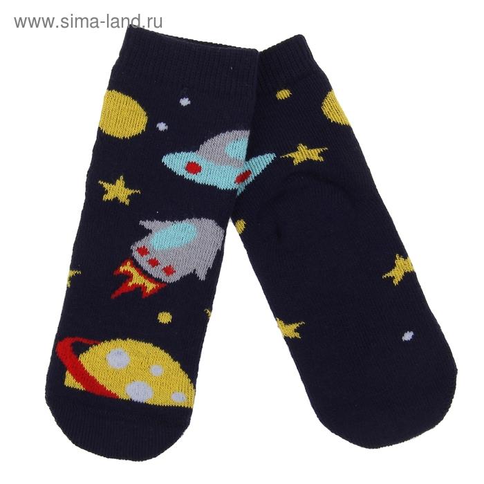 Носки детские плюшевые, размер 12-14, цвет темно-синий ПФС102-2550