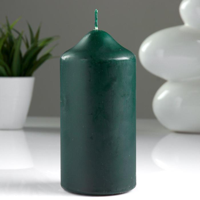 Свеча классическая 7х15 см, зеленая