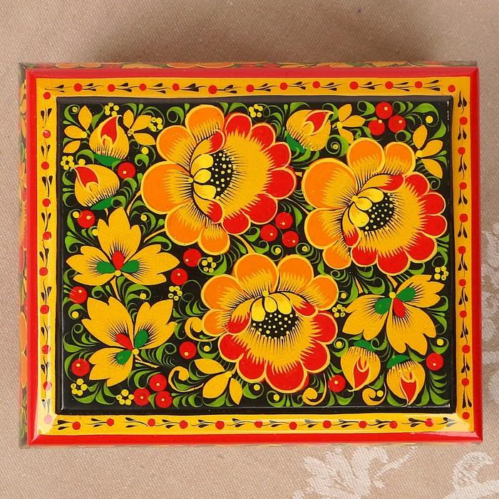 Шкатулка «Цветы», хохлома, ручная роспись, 16х13 см