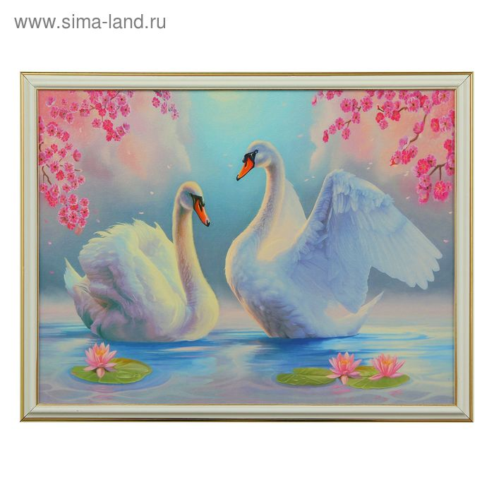 "Картина ""Лебеди и лотос"""