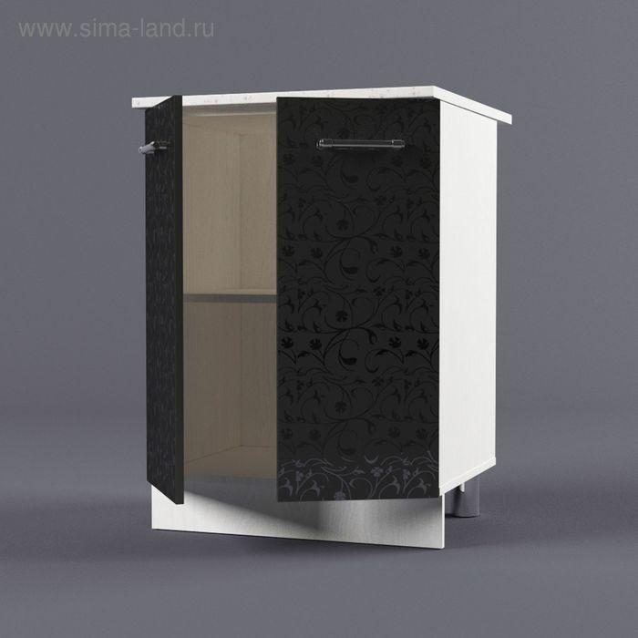 Шкаф напольный 850*600*600 Черные цветы