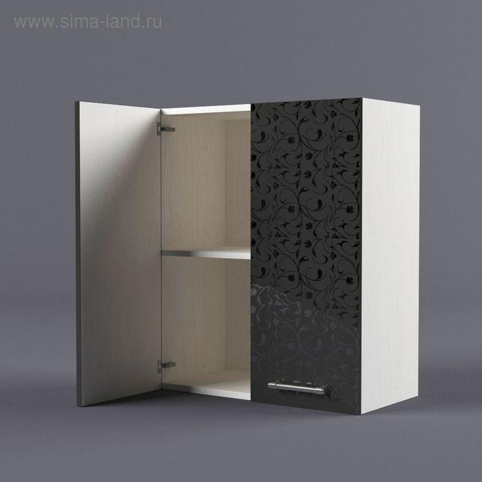 Шкаф навесной 720*600*300 Черные цветы