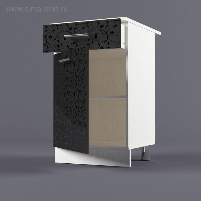 Шкаф напольный 850*500*600 Черные цветы