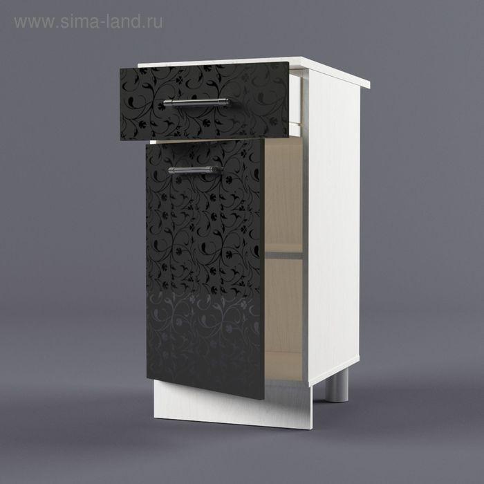 Шкаф напольный 850*400*600 Черные цветы