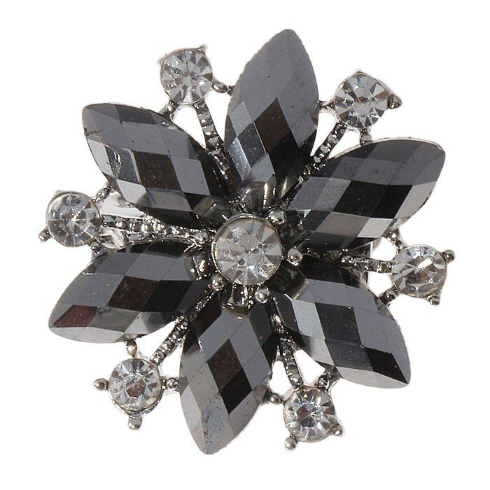 """Брошь """"Сияние"""" цветок шестилистник, цвет чёрный в серебре"""
